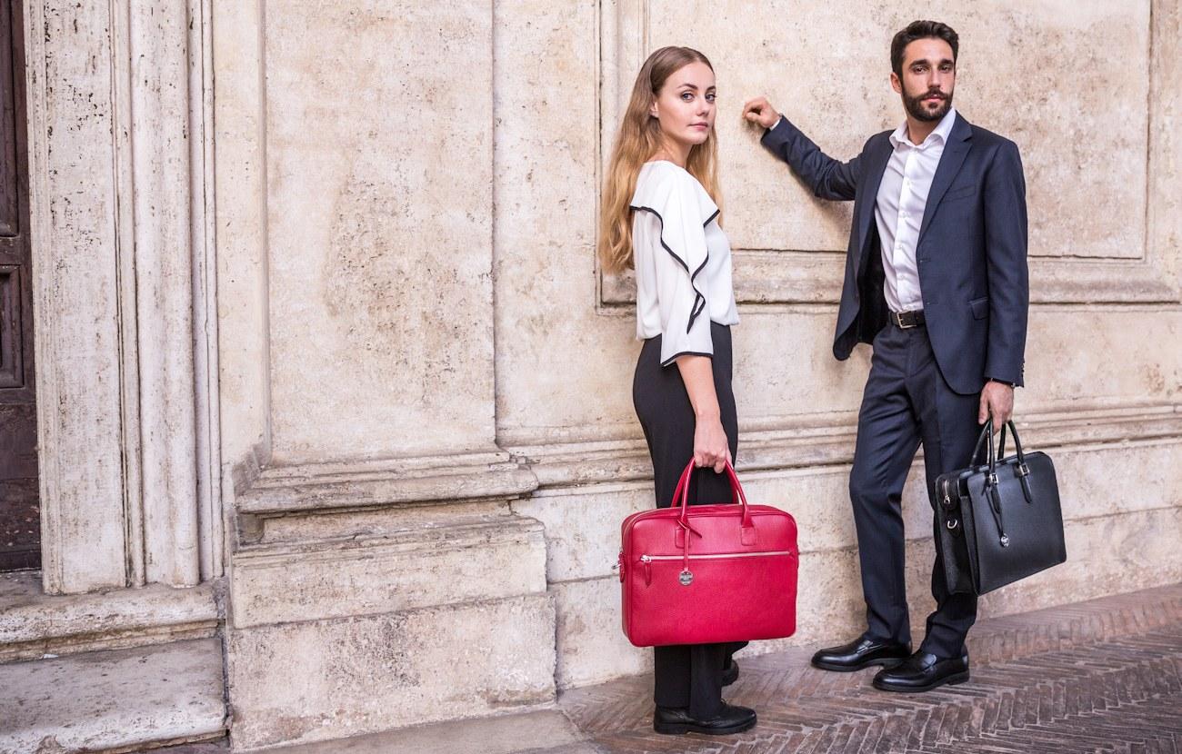Italian leather briefcases and messenger bags for men and women