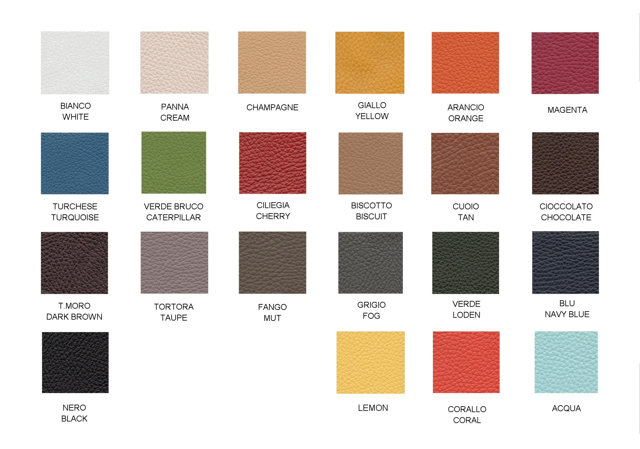 Leather Chart Colors
