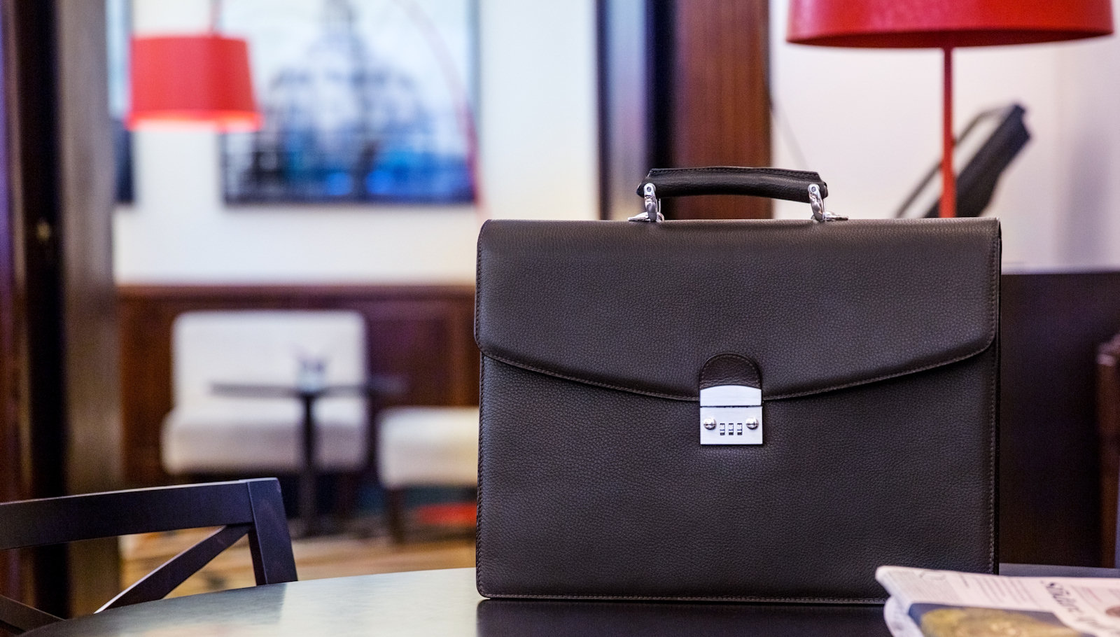 Handmade italian leather briefcase