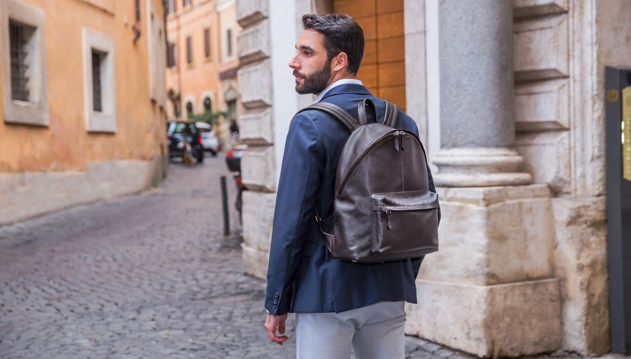 Handmade italian leather backpack for men, Federico 34