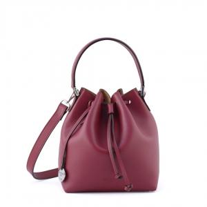 Leather bucket bag Ginevra - Burgundy color